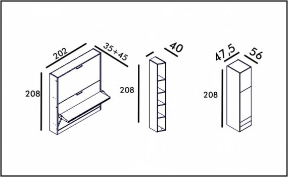 Diva Bunk Table - Technical drawing