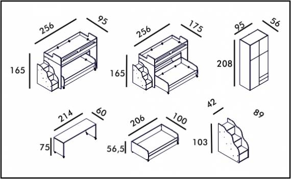 Twin Bunk Set - Technical drawing